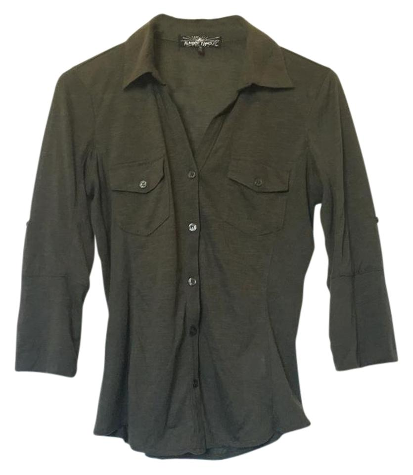 Almost Famous Clothing Dark Green Button Down Shirt - 40% Off Retail