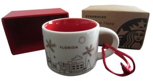 Starbucks New With Tags Rare 2014 Starbucks Mug Ceramic Decorative Christmas Tree Mug Florida Ornament