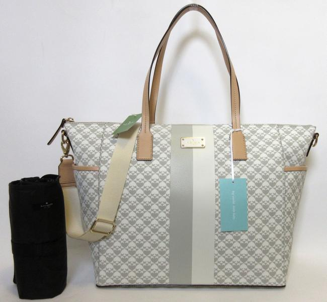 Item - Adaira Penn Place In Grey and White Gold Nylon Leather Diaper Bag