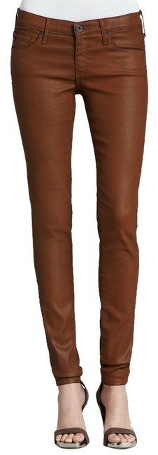 Item - Bear Bee Cognac Brown Coated The Absolute Legging Wax Stretch Skinny Jeans Size 25 (2, XS)