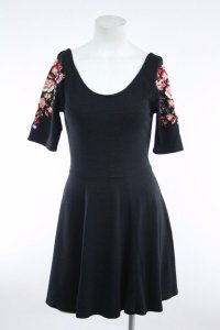 Free People short dress Black Floral Embroidery on Tradesy