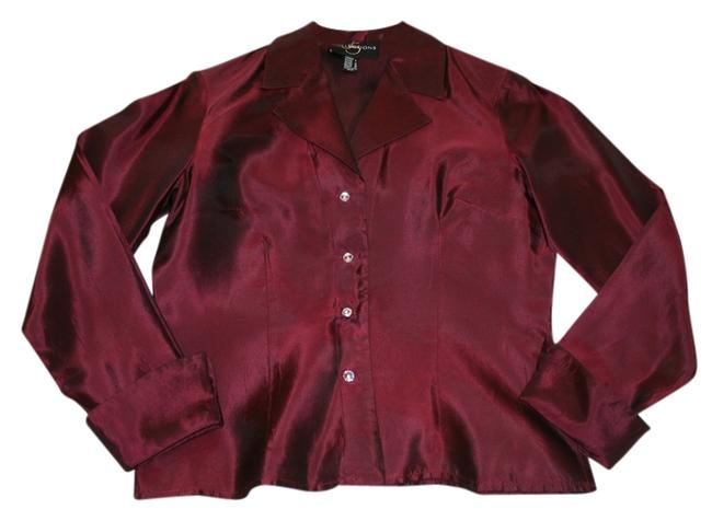 JS Collections Cocktail Crystal Buttons Top Maroon