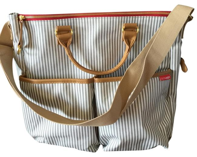 Item - Duo Gray Red White- French Stripe Moisture Resistant Coated Diaper Bag