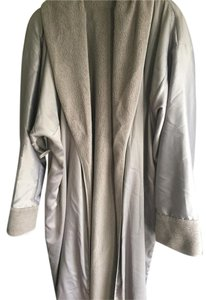 Donna Karan Sleepwear? Ankle Length Silver Grey Fleece-Lined Robe Self-Tie Pockets