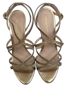 Pelle Moda High Heel Sandals Platinum Gold Formal