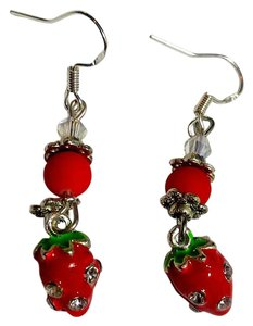 New Strawberry Dangle Earrings Crystals Red Silver Green J2495
