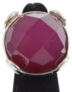 Chico's Chicos Adj Silvertone Magenta Faceted Round Faux Stone Ring Bj06