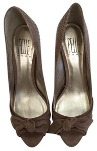Pelle Moda High Peep Toe Snake Skin taupe Pumps