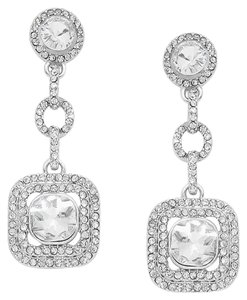Clear Rhodium/Silver Elegant Rhinestone Crystal Link Earrings