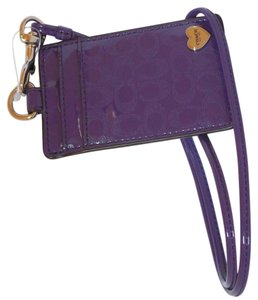 Coach Coach Perforated Sig C Emb Liquid Gloss Violet Patent Leather Lanyard, Badge ID Credit Card Holder, NWT 62406