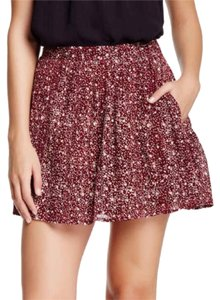 Lucky Brand Mini Skirt Maroon, off white