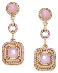 Elegant Rhinestone Crystal Pink Opal Link Earrings