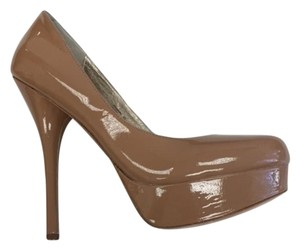 ZIGIny High Platform Nude patent Pumps