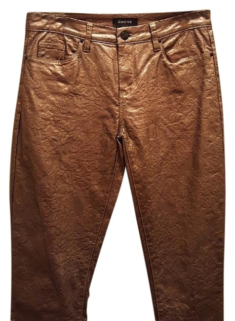 Item - Gold Coated Leather Straight Leg Jeans Size 29 (6, M)