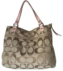 Coach Holds Spring Summer Tote in PINK WITH BROWN AND BEIGE LOGO