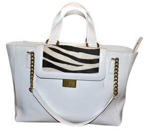 Jimmy Choo Camille Tote in White with Black accents