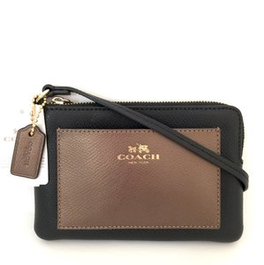 Coach Crossgrain Leather Corner Zip Wristlet in Black/ Bronze