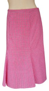 W by Worth Plaid Gingham Tulip Hem Skirt Red