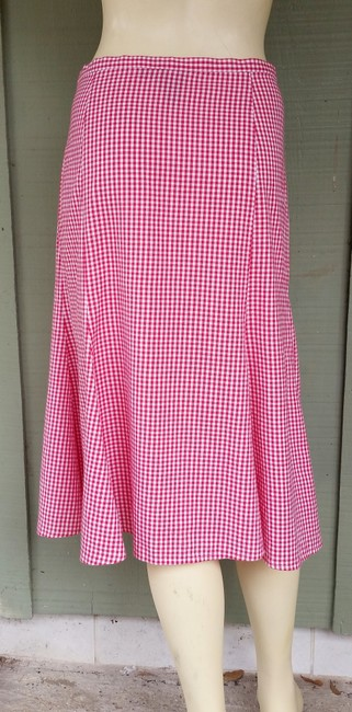 W by Worth Plaid Gingham Tulip Hem Flared Cotton Skirt Red
