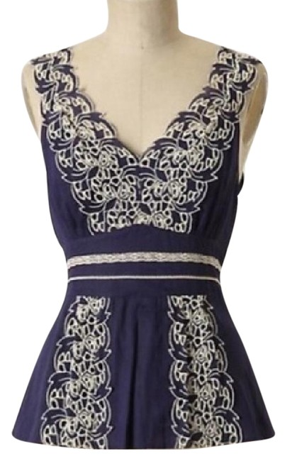 Floreat Anthropologie Embroidered 0 Top Blue/White