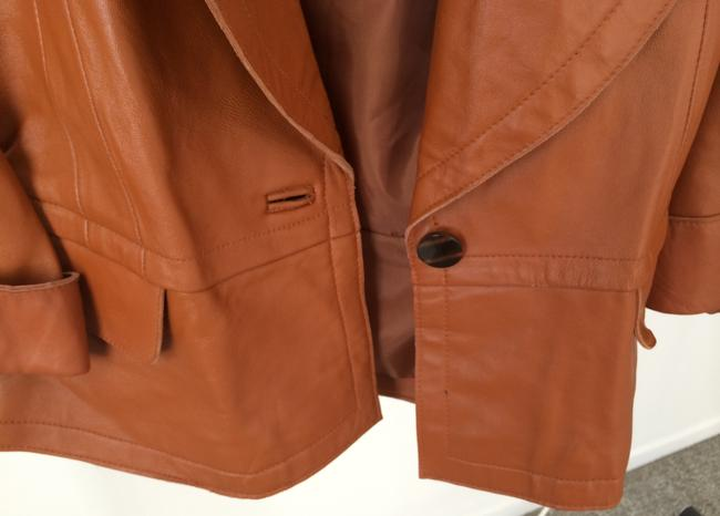 Newport News Peacoat Style Leather Bell Sleeves Tobacco Jacket