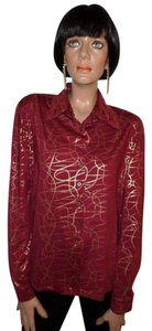 DG2 by Diane Gilman Button Down Shirt Cranberry