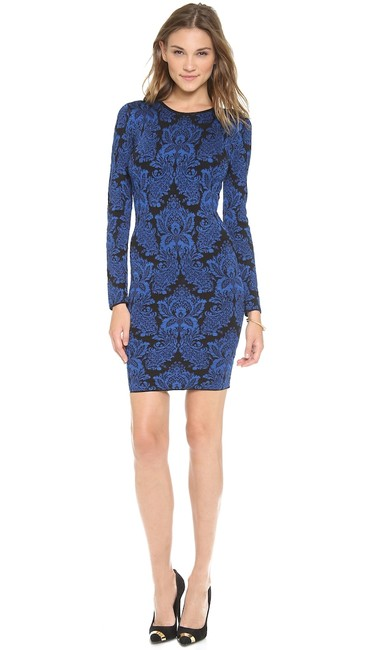Item - Navy Blue Baroque Bodycon Above Knee Night Out Dress Size 4 (S)