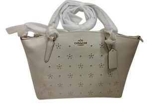 Coach Studded Leather Kelsey Satchel in Chalk