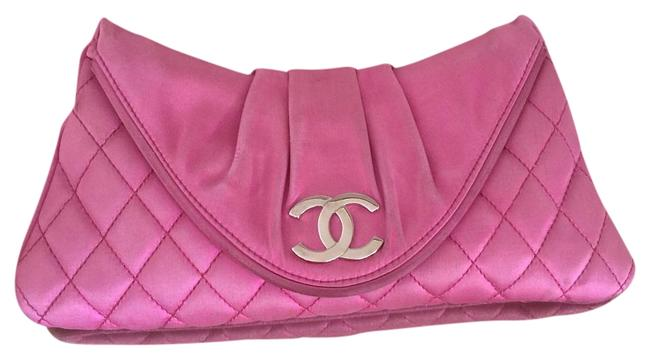 Item - Half Moon Quilted Pink Satin Clutch