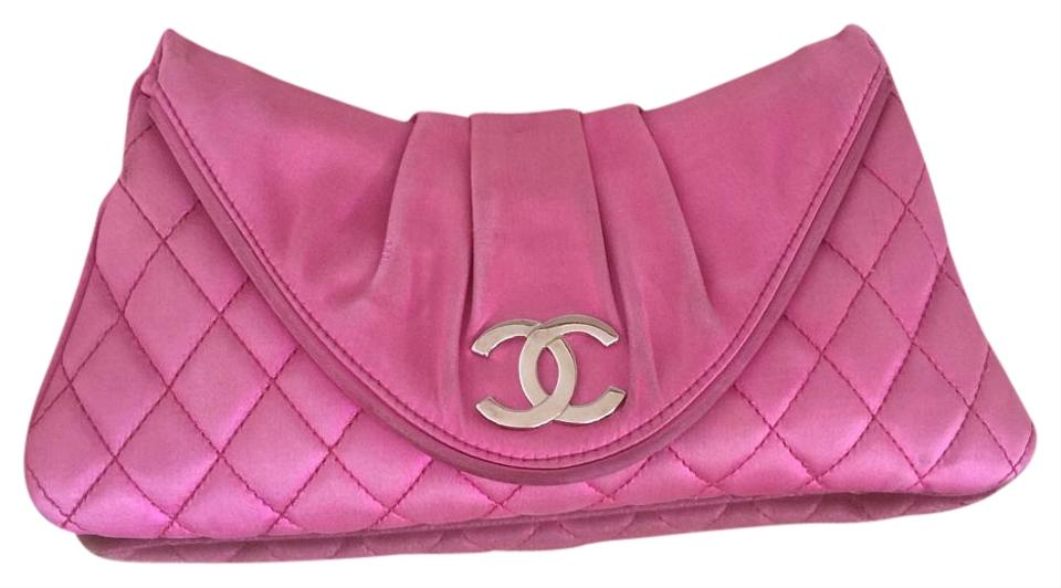 d9d589e132061f Chanel Half Moon Quilted Pink Satin Clutch - Tradesy
