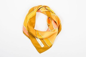 Dior Vintage Christian Dior Brown Orange Yellow Block Print Silk Square Scarf