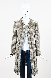 Moschino Brown Blue Beige Wool Tweed Flower Button Rosette Long Multi-Color Jacket