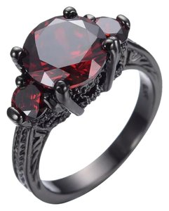 New Lab Created Red Ruby & Black Gold Filled Ring