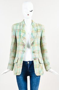Chanel Vintage Boutique Mint Green Tweed Shawl Lapel Ls Blazer Multi-Color Jacket