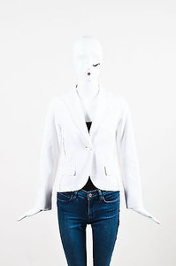 Louis Vuitton Louis Vuitton White Cotton Textured Long Sleeve Blazer Jacket