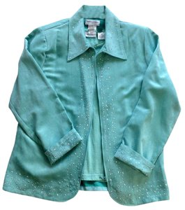 Draper's and Damon's Studded Zipper Mint Green suede like material Jacket