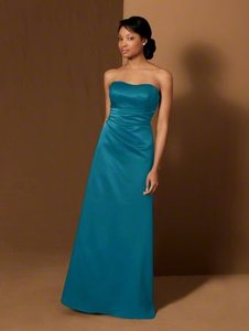Alfred Angelo Black Satin with Sheen 7401 Traditional Bridesmaid/Mob Dress Size 4 (S)