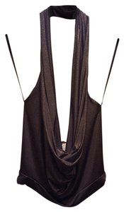 Arden B. B Black Gold Glitter Halter Top