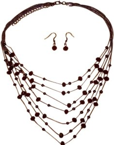 JC Penney Burgundy Wine Color Bead Necklace With Matching Earrings