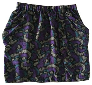 Madewell Mini Skirt Purple/Black Print