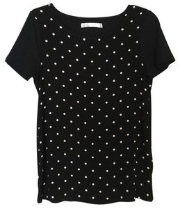 Madewell T Shirt Black with White Polkadot