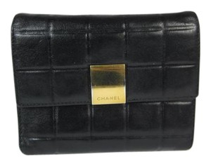 Chanel Black, Quilted Lambskin & Logo, Folding Wallet