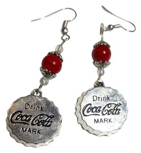 Other Coca Cola Bottle Cap Charm Earrings Red Silver J2496 Summersale