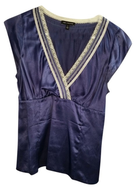 The Limited Lace Trim Silk Satiny Fitted Plunging Neck Top Blue
