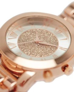 Wet Seal Glitter Dial Metal Boyfriend Watch