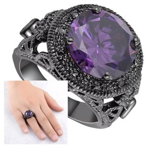 Other New Lab Created Amethyst & Black Gold Filled Ring 9