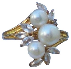 73536 Freshwater Pearl & Lab Created White Sapphire Yellow Gold Over Sterling Silver