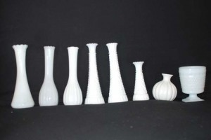 White (Milk Glass) 8 Vases (Various Sizes) Reception Decoration