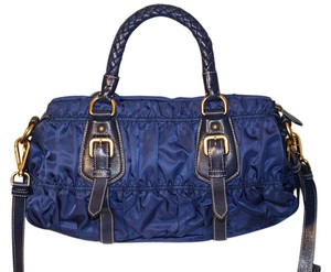 Prada Classic Sporty Nylon Satchel in Cobalt