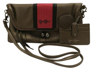 Jessica Simpson Fold Over Faux Leather Detachable Strap Pewter Metallic Bronze, Pink Clutch